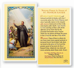 St. Francis Xavier Novena Prayer Laminated Holy Card