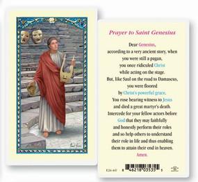 St. Genesius Prayer Laminated Holy Card