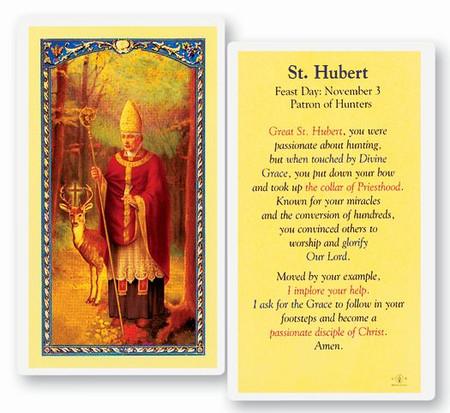 St. Hubert Laminated Holy Card