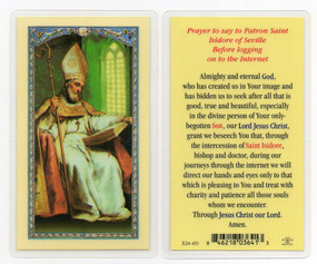 St. Isidore - Prayer Before Logging on to the Internet - Laminated Holy Card