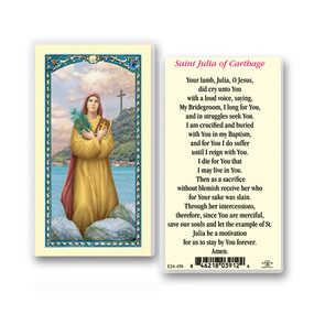 St. Julia of Carthage Prayer Laminated Holy Card