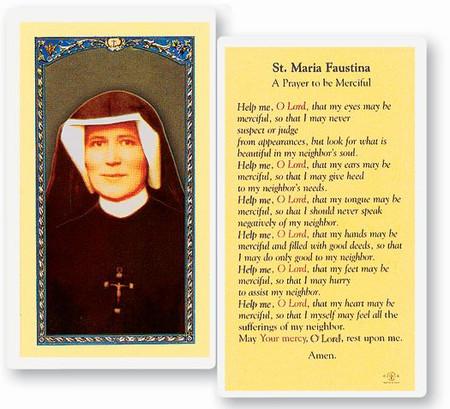 St. Maria Faustina Prayer Laminated Holy Card