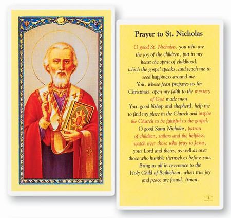 St. Nicholas Prayer Laminated Holy Card