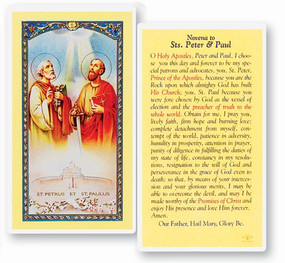 Sts. Peter and Paul Novena Prayer Laminated Holy Card