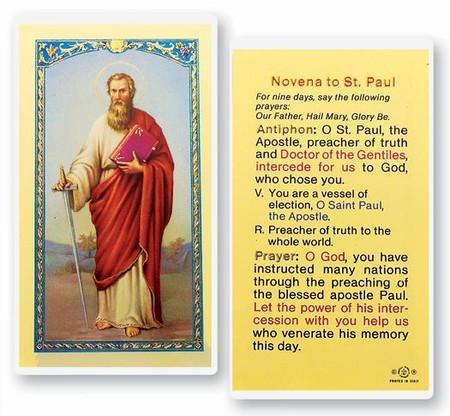 St. Paul Novena Laminated Holy Card