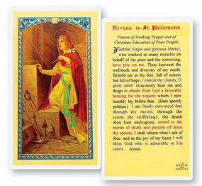 St. Philomena Novena Laminated Holy Card