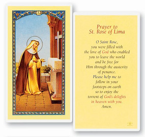 St. Rose of Lima Prayer Laminated Holy Card