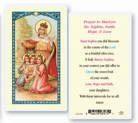 Prayers to Martyrs Sts. Sophia, Faith, Hope, and Love Laminated Holy Card