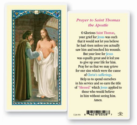 St. Thomas the Apostle Prayer Laminated Holy Card