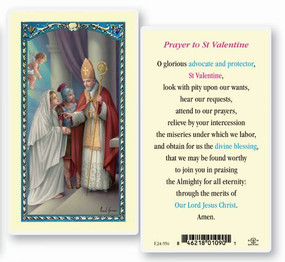 St. Valentine Prayer Laminated Holy Card
