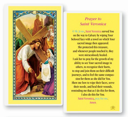 St. Veronica Prayer Laminated Holy Card