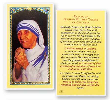 Blessed Mother Teresa of Calcutta Prayer Laminated Holy Card