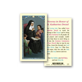 St. Katharine Drexel Novena Prayer Laminated Holy Card