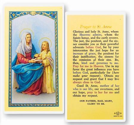 St. Anne Prayer Laminated Holy Card