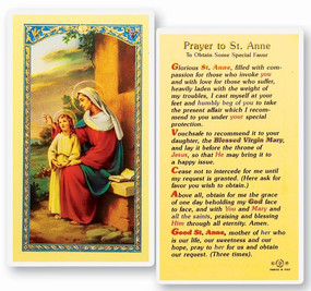 St. Anne Prayer to Obtain Some Special Favor Laminated Holy Card