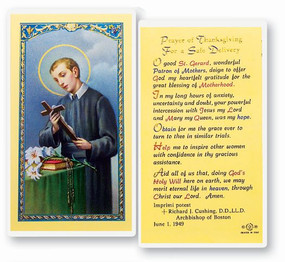 St. Gerard Majella Prayer of Thanksgiving for a Safe Delivery Laminated Holy Card