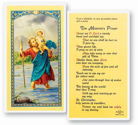 St. Christopher - Motorist's Prayer - Laminated Holy Card