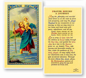 St. Christopher Prayer Before a Journey Laminated Holy Card