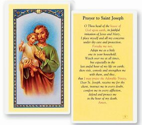 St. Joseph Prayer Laminated Holy Card