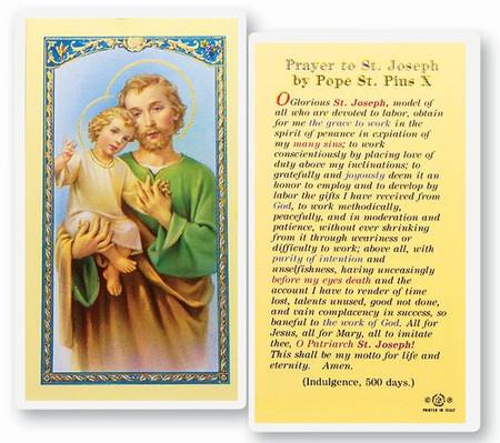 St. Joseph Prayer by Pope St. Pius X Laminated Holy Card