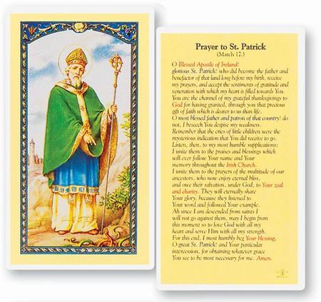 St. Patrick Prayer Laminated Holy Card
