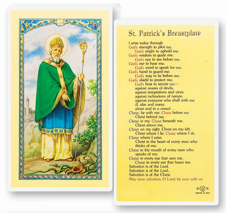 St. Patrick's Breastplate Laminated Holy Card