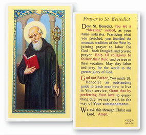 St. Benedict Prayer Laminated Holy Card