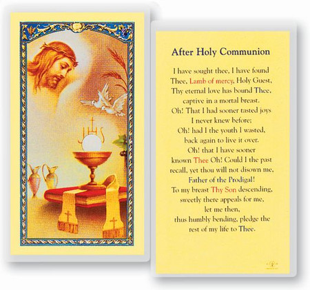 Prayer After Holy Communion Laminated Holy Card