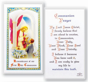 Communion Boy Popular Prayer Laminated Holy Card