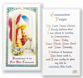 Communion Girl Popular Prayer Laminated Holy Card