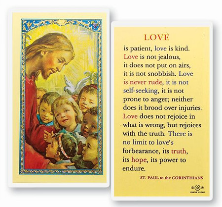 Love is Patient Laminated Holy Card