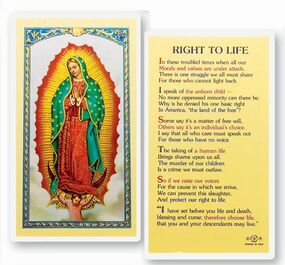 Right to Life Laminated Holy Card