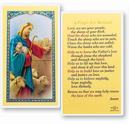 Prayer for Renewal Laminated Holy Card