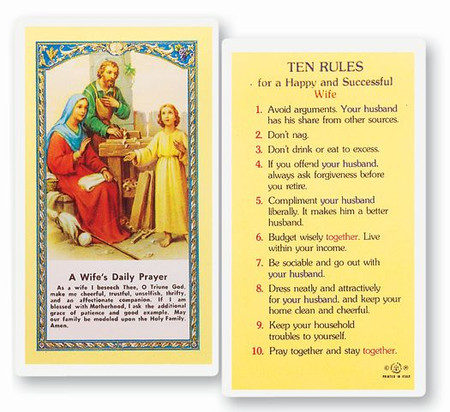 Ten Rules for a Happy and Successful Wife Laminated Holy Card