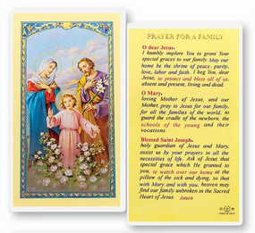 Prayer for a Family Laminated Holy Card