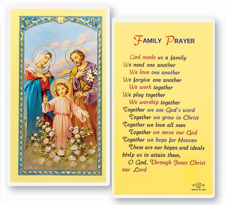 Family Prayer Laminated Holy Card