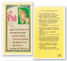 Difference Serenity Laminated Holy Card