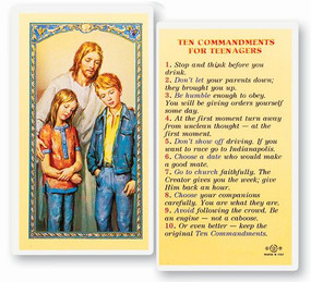 Ten Commandments for Teenagers Laminated Holy Card