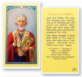 St. Nicholas Prayer for Children Laminated Holy Card