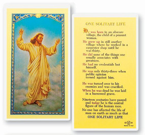 One Solitary Life Laminated Holy Card