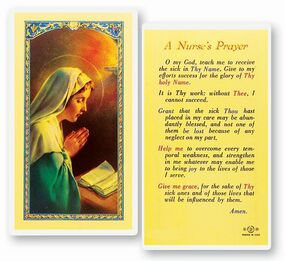 Nurse's Prayer Laminated Holy Card