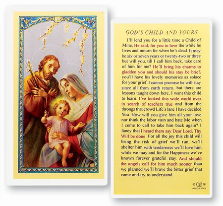 God's Child and Yours Laminated Holy Card