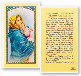 Most Important Person on Earth Laminated Holy Card