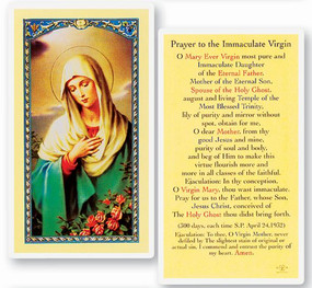 Immaculate Virgin Prayer Laminated Holy Card
