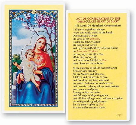 Act of Consecration to the Immaculate Heart of Mary Laminated Holy Card