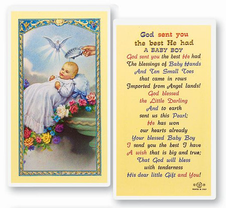 Baptism Boy Laminated Holy Card