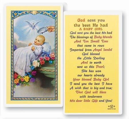 Baptism Girl Laminated Holy Card