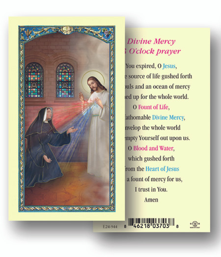 Divine Mercy 3 O'Clock Prayer Laminated Holy Card