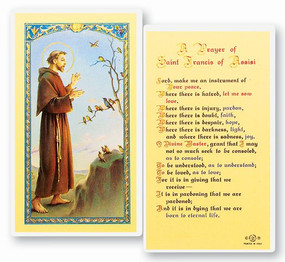 St. Francis of Assisi Prayer for Peace Laminated Holy Card (E24-311)