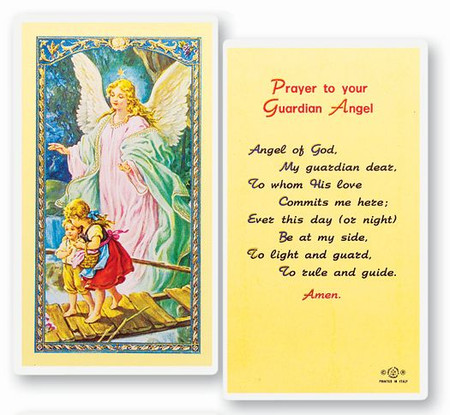 Guardian Angel Prayer Laminated Holy Card (E24-350)